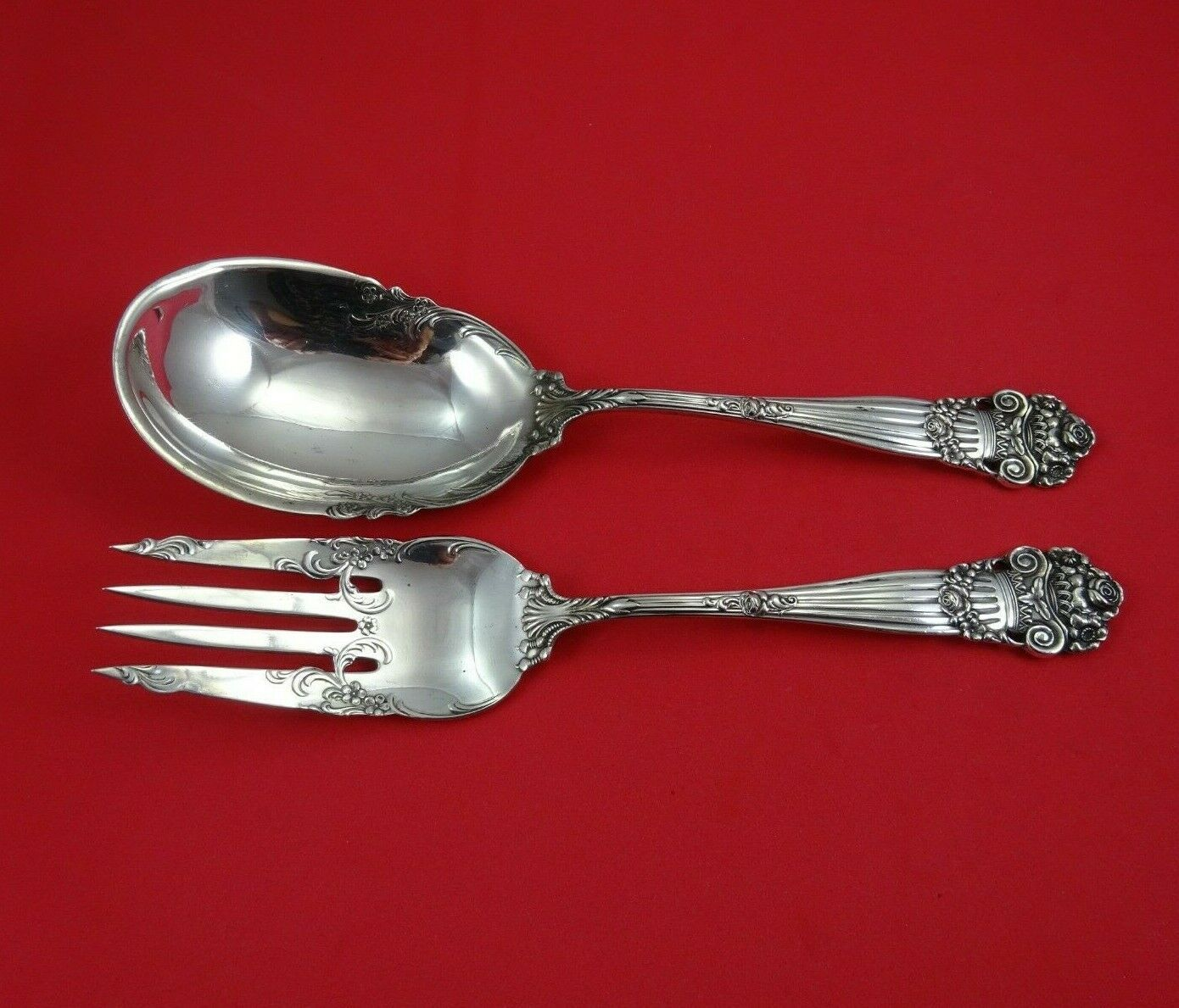 Primary image for Georgian by Towle Sterling Silver Salad Serving Set 2pc All Sterling Original 9""