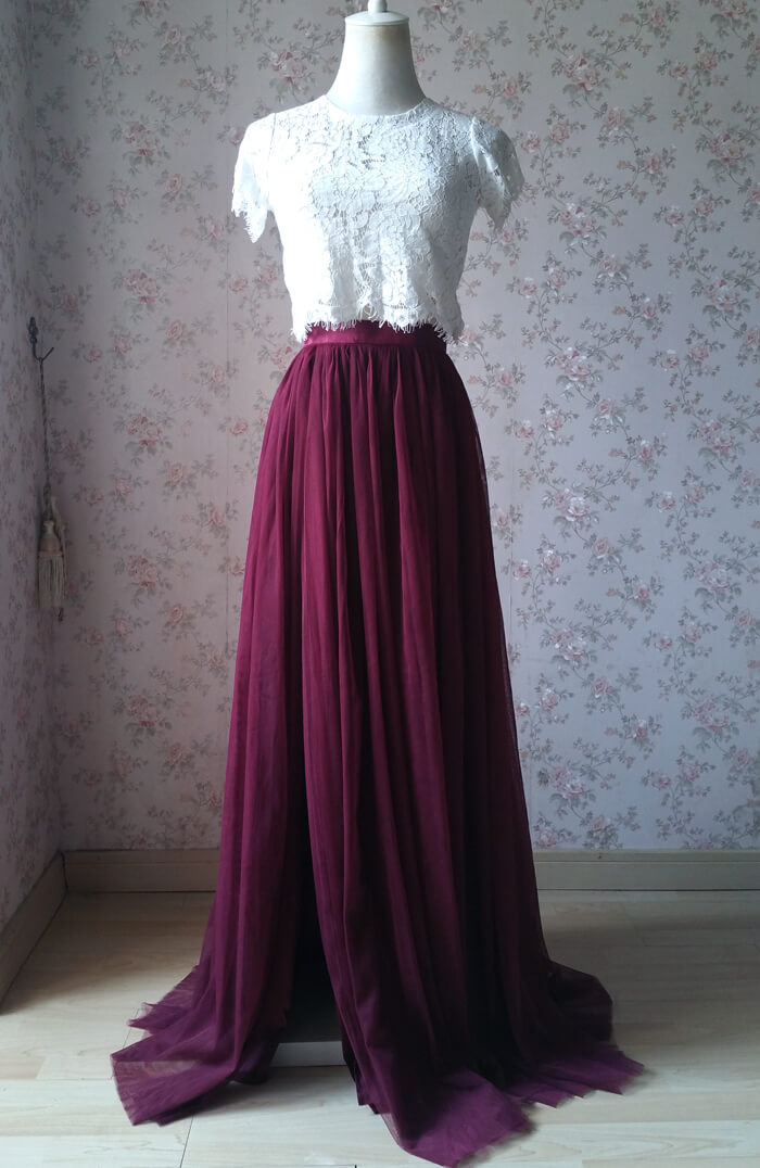Slit tulle skirt 02 burgundy