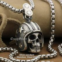 LINSION 925 Sterling Silver Motorcycle Helmet Skull Mens Punk Pendant Necklace image 2