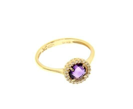 18K YELLOW GOLD RING CUSHION ROUND PURPLE AMETHYST AND CUBIC ZIRCONIA FRAME