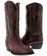 Genuine Crocodile Hornback Mens Western Leather Burgundy J Toe Cowboy Boots - $199.99