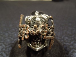 Rare Designer Bora Sterling Bold Crown Skull Cross BRUTALIST MODERNIST Ring - $289.58