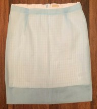 H & M Baby Blue Sheer Over White Waffle Skirt Ladies Size 2 Career Business - $11.32