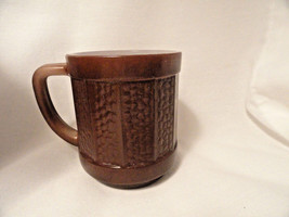 Brown Federal Glass Coffee Mug Shield Mark Paneled Pebbled - $15.99