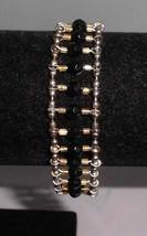 Vintage Gold Tone Black & Gold Plastic Beaded Ladder Style Bracelet - $14.85