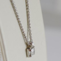 18K WHITE GOLD NECKLACE WITH DIAMOND 0.12 CARATS, EAR LINK CHAIN MADE IN ITALY image 2