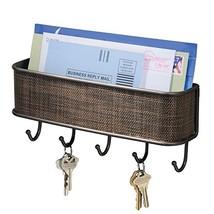 iDesign Twillo Mail and Key Holder, Decorative Wall Mounted Key Rack Organizer P image 1