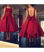 Mid-calf Red Satin Prom Dress Open Back Bow Tie - $139.99