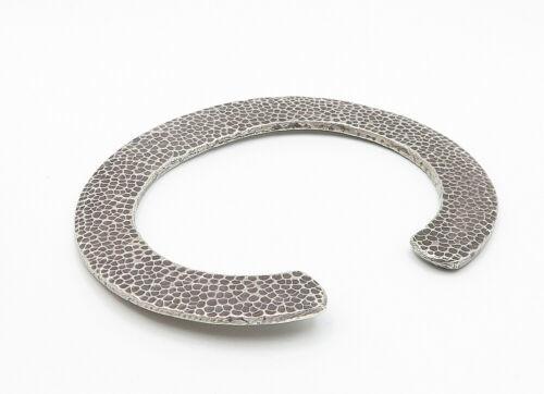 925 Sterling Silver - Vintage Hammered Flat C Shaped Cuff Bracelet - B6174 image 3