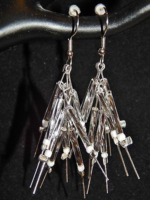 NEW HAND MADE SILVER STICKS PIERCED EARRINGS-STERLING SILVER, WHITE, CLEAR BEADS