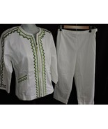 Bob Mackie Wearable Art 2 Piece Pant Set White Jacket Cruise Summer Outf... - $40.50