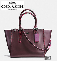 $450 COACH F20896 CROSBY HANDBAG NATURAL REFINED LEATHER PYTHON EMBOSSED... - $169.95