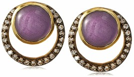 "Blossom Box 3/4"" Gold Plated 10mm Purple Amethyst & Crystal Stud Earrings NWT"