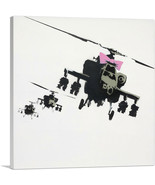 ARTCANVAS Happy Choppers - Pink Bow Hellicopter Canvas Art Print by Banksy - $41.99+
