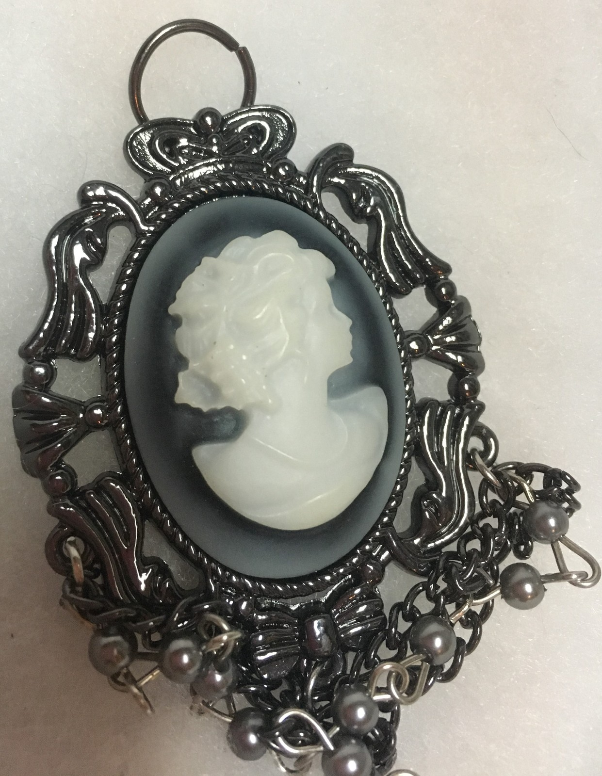 Black & White Cameo Necklace Pendant 4""