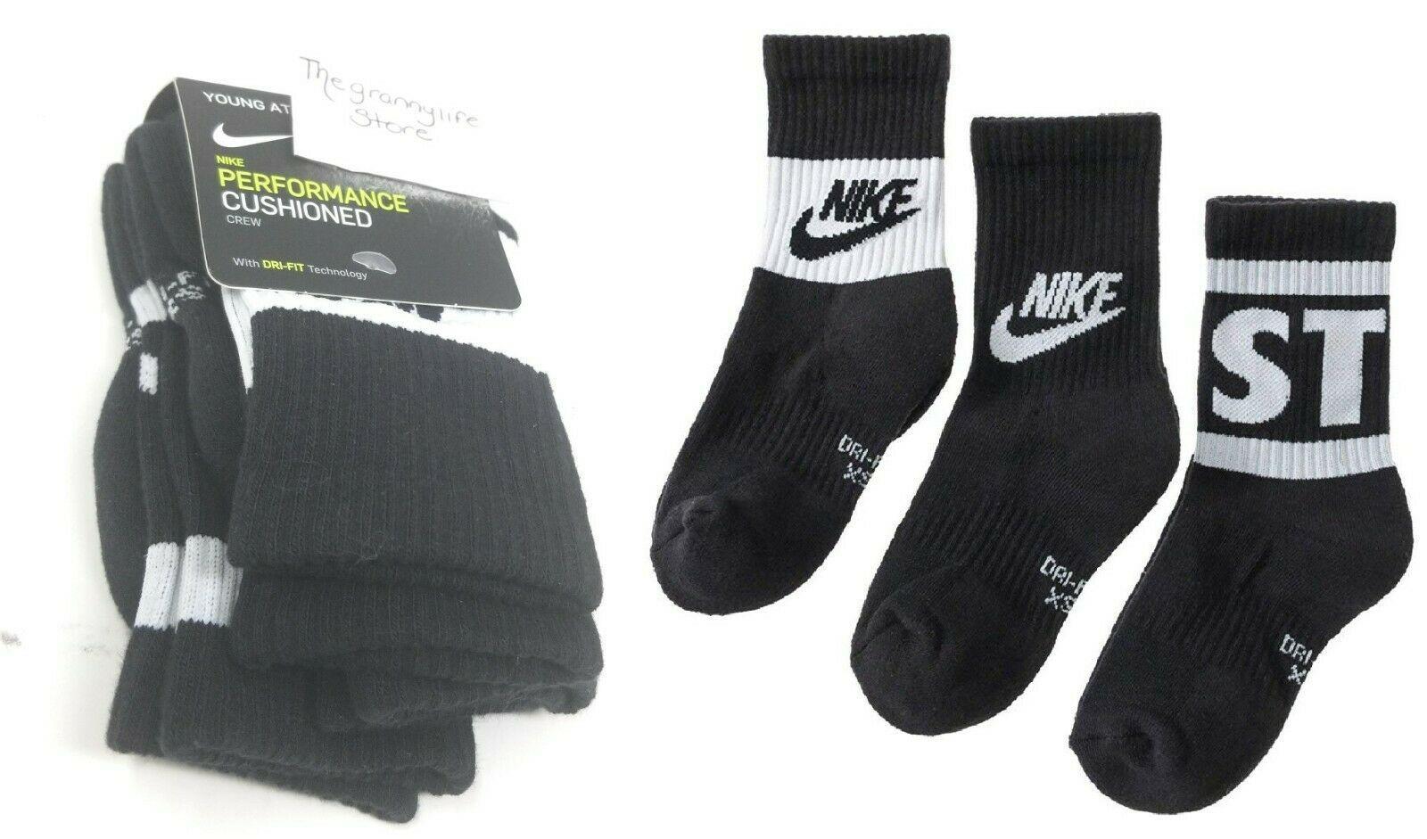 Nike Youth Boys Crew Socks sz XS 10C-3Y Black Dri Fit Cotton Cushion Performance