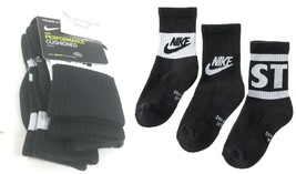 Nike Youth Boys Crew Socks sz XS 10C-3Y Black Dri Fit Cotton Cushion Per... - $17.82