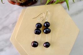 Elegant Black Pearl Dangle Earrings for Minimalist - $14.99