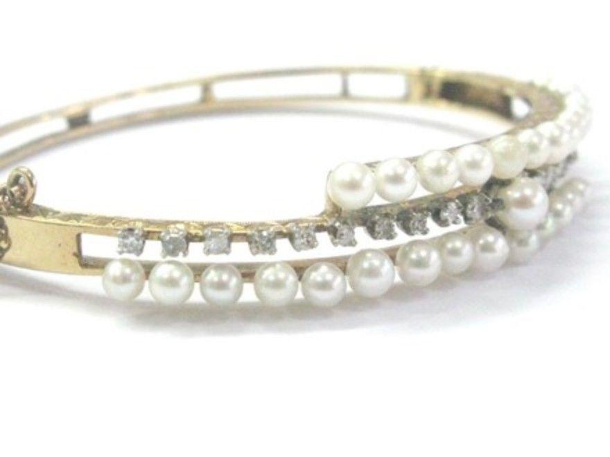 Fine Vintage Pearl & Diamond Yellow Gold Bangle Bracelet .40Ct