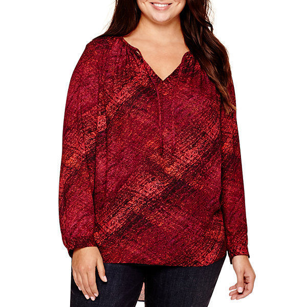 a.n.a Long-Sleeve Tie-Front Peasant Blouse Size L New Msrp $40.00
