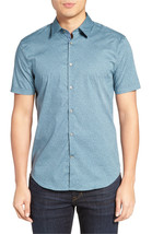 John Varvatos Star Usa Slim Fit Micro Print Short Sleeve Sport Shirt, M,... - $74.24