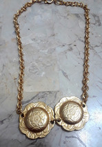 Vintage Unsigned Coro? Flower Disks Choker Necklace Gold Tone - $20.00