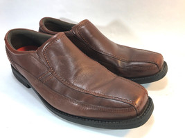 ROCKPORT sleek brown leather lightweight slip on casual or dress loafers 12 - $39.55