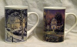 2 Thomas Kinkade Ceramic Mugs  Victorian Light   Hometown Christmas Memo... - $20.00