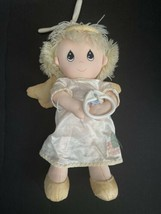 Vtg Precious Moments plush Pull String Doll Musical Crib Toy lovey blank... - $27.71