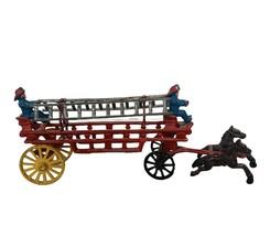 Cast Iron Toy Fire Truck Firemen Fireman Horse Ladders Carriage firetruck lead  - $483.75