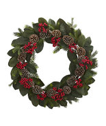 "30"" Magnolia Leaf, Berry, Pine And Pine Cone Artificial Wreath, 4271 - $111.89"