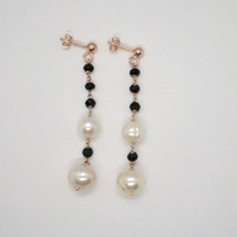 Drop Earrings in Silver 925 Laminate Rose Gold with Black Pearls and Onyx image 2