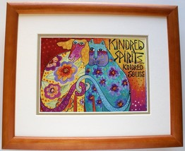 Kindred Spirits by Laurel Burch Matted & Framed Abstract Cat & Dog Animal - $44.54