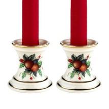 Lenox Holiday Tartan Candlestick Pair w/ Tapers NIB - $46.74
