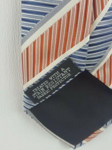 Geoffrey Beene Tie Silk Striped Orange White Blue Necktie image 4