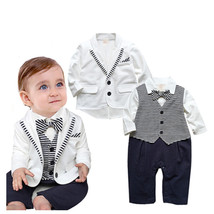 Baby boy clothes gentleman baby clothes long sleeve romper with coat whi... - $18.70