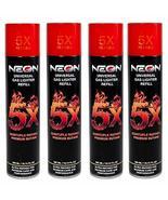 4 Cans Neon 5X Butane Refill Fuel Fluid Lighter Ultra Refined 5 Times 10... - $11.85