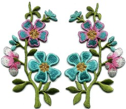 Turquoise Blue Pink wild flowers pair appliques iron-on patches new S-1375 - $3.95