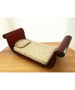 Vintage Daybed Salesman Sample Chaise Lounge Wooden Rolled Arms Doll Siz... - $236.61