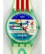 Near MINT vtg Swatch Watch 1996 Atlanta Olympic Red White Blue Runner Gr... - $129.99