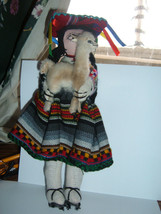 "PeruvianPeru Cloth  Doll holding  Alpaca baby on back  11"" tall - $19.79"