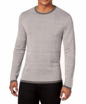 NEW ALFANI CREW NECK TEXTURED STRIPED GREY SILK BLEND PULLOVER SWEATER X... - $34.64