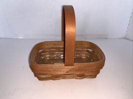 "Vintage Longaberger Small Rectangle Basket w/Handle & Liner 6 1/2"" X 4 1/2"" - $10.00"