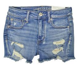 American Eagle Womens Destroy Medium Blue Stretch Jean Shortie Shorts  4  6568-6 - $47.03