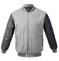Maximos USA Men's Premium Vintage Baseball Letterman Varsity Jacket (Medium, Lig