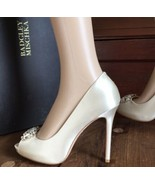 Badgley Mischka Altar Ivory Satin Women's Bridal Heels Pumps Size 8 - $113.85