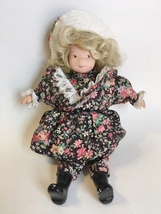 Vintage Doll Collectible Porcelain Blond Hair Floral Dress White Hat Bla... - $45.00