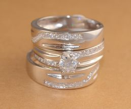14K White Gold Over 1Ct Simulated Diamond His-Her Trio Engagement Ring Set  - $99.99