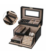 Jewel Box Case Jewelry Rectangular Mirror Drawers Pendants Rings - $240.66