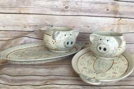 Temptations Ovenware Set Of 2 Pig Figural Soup Bowls And Sandwich Plates... - $38.79
